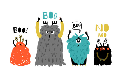 Cartoon cute boo monsters