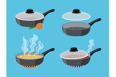 Cartoon cooking pans