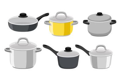 Pans pots and saucepans