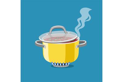 Saucepan on burner