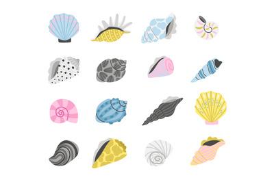 Cartoon marine seashells