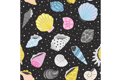 Ocean seashells seamless pattern