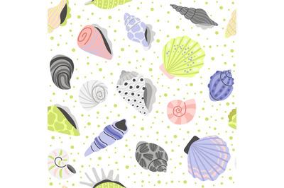 Decoration seashells seamless pattern