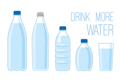 Flat bottles with mineral water