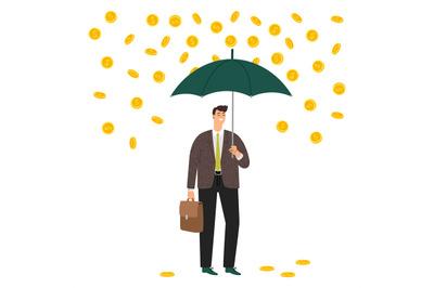 Man under money rain