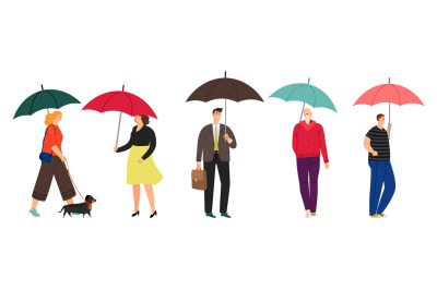 People characters with umbrella