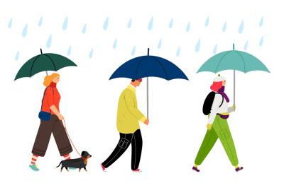 People walking under rain