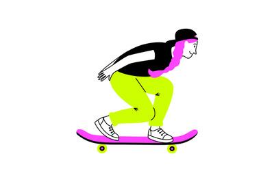 Sporting girl on skateboard