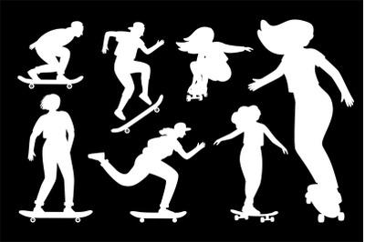 Silhouettes on skateboard