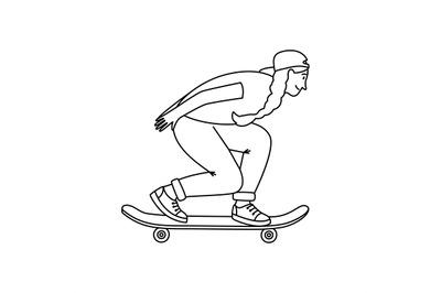 Skateboarder girl sketch