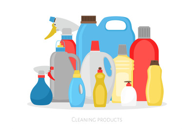 Cleaning products bottles. Isolated plastic packing set, detergent cle