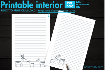 Printable notebook with forest animals.