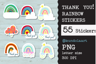 Thank you! Rainbow stickers. PNG. Digital and printed files.