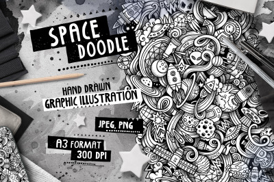 Space Graphic Doodle Illustration