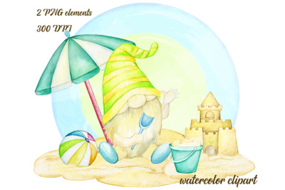 Watercolor Summer Gnomes Clipart, Beach Gnomes PNG, birthday clipart,