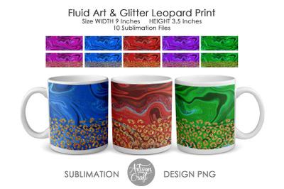 11 oz mug sublimation template, Fluid art, Leopard Print