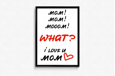 Mother Day card design with funny and sweet lettering