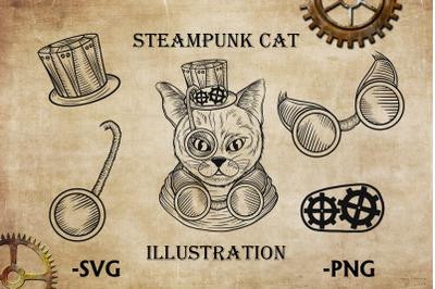 Steampunk cat clipart 100% hand-drawn illustration