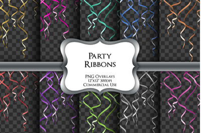 Party Ribbons Overlays Transparent PNG