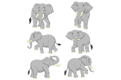 Set of Six Elephant Cartoon Collection