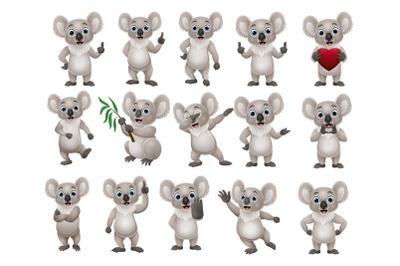 Set of Fifteen Cute Koala Cartoon Bundle
