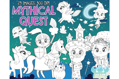 Mythical Quest Digital Stamps - Lime and Kiwi Designs