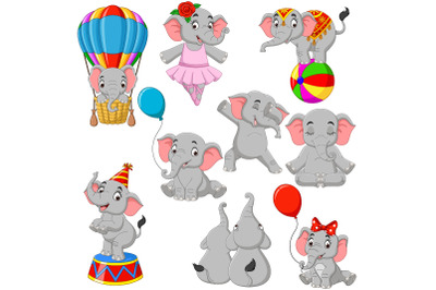 Set of Nine Cartoon Elephant Collection
