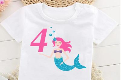 Mermaid svg , Birthday Mermaid SVG , 4 th Birthday svg , Mermaid Girl