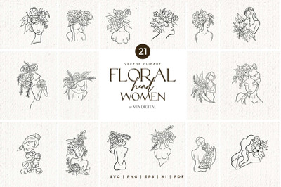 Floral Head Women SVG Clip Art/ Black Line Art Girl with Flowers Print