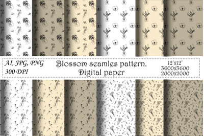Blossom Seamless Pattern. Hand draw floral,botanical AI,JPG,PNG