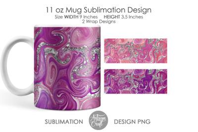 Sublimation mug template, fluid art, chunky glitter