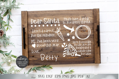 Dear Santa Christmas Eve Snack Mat or Tray | I and We Versions | Chris