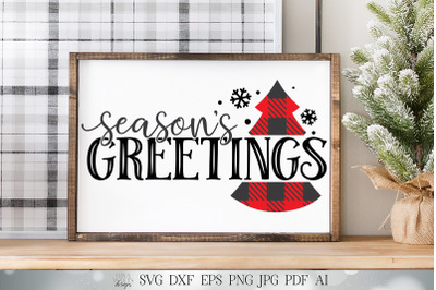 Season's Greetings SVG | Buffalo Plaid SVG | Christmas SVG | Winter sv