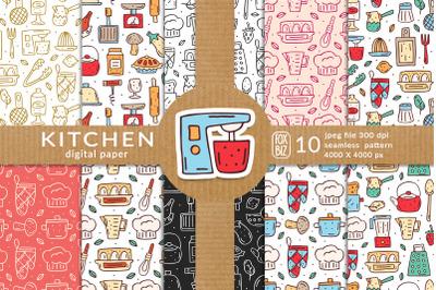 Kitchen hand drawn vector seamless patterns textures