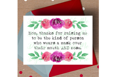 Mother's Day Card, Funny mom printable, wear a mask, humor joke, pink