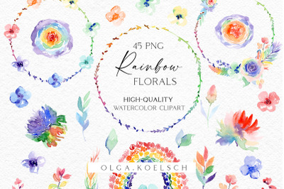 Boho rainbow roses clipart, bright floral elements, rainbow png