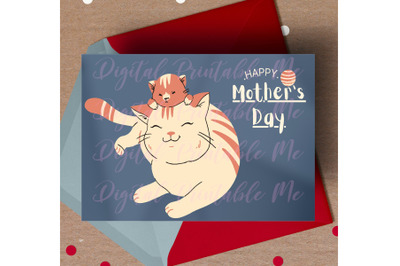 Happy Mother's Day Card, cat mom gift, cute kitten, printable mother's