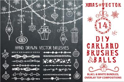 Christmas DIY garland brushes set