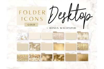 Icons Desktop Folder Gold