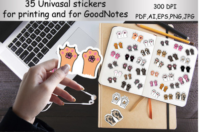 Stickers for printing and for the GoodNotes app. Cat paws,pets,animal