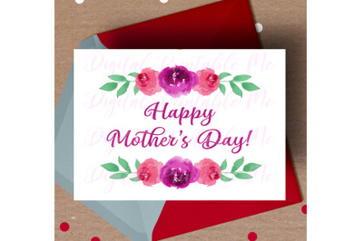 Happy Mother's Day Card, Mom printable, instant download, watercolor f