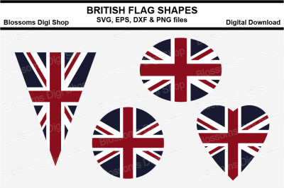 British Flag Shapes SVG, EPS, DXF and PNG cut files