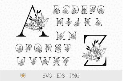 Flower alphabet svg, Floral letters svg, Peony flower