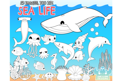 Sea Life Digital Stamps - Lime and Kiwi Designs