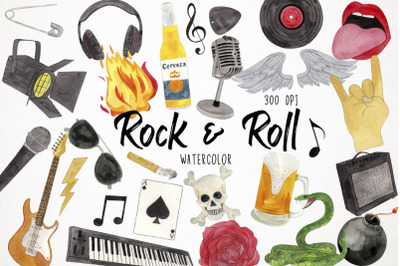 Watercolor Rock and Roll Clipart, Heavy Metal Clipart