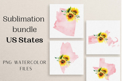 USA Map Watercolor Clipart, 50 States Watercolor Clip Art Bundle