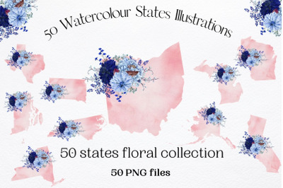 50 Watercolour States Collection