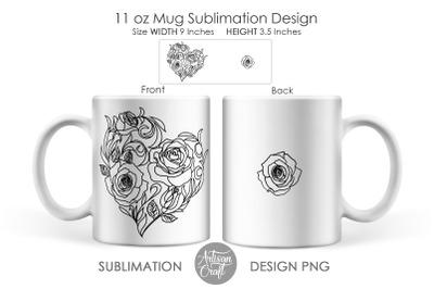 Mug sublimation design, rose heart, 11oz mug