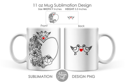 Sublimation mug templates, love birds, Heart of Roses