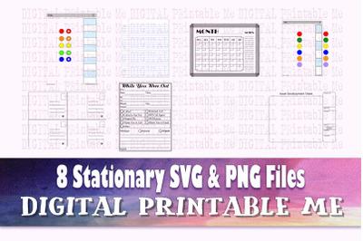 Planner stationary SVG PNG, 8 Images, Clip Art Pack blank calendar tem